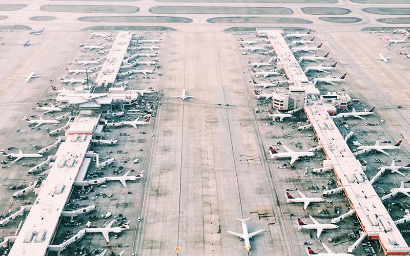 Aerial view of airport runway