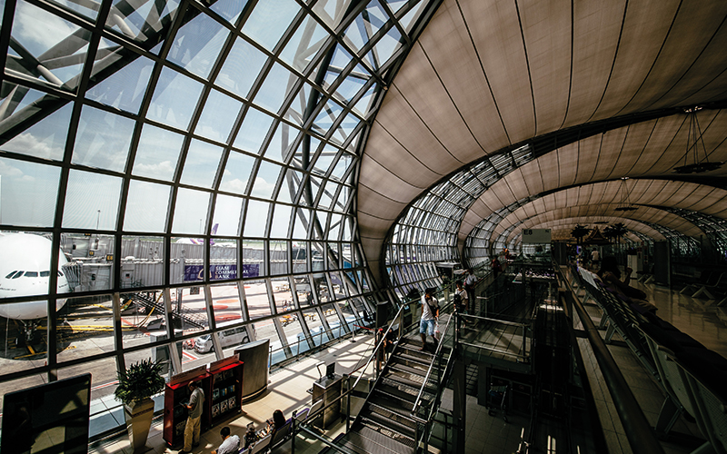 Glass windows at airport