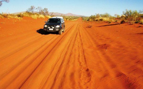 Car driving along the Australian desert