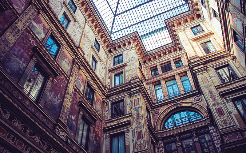 Looking up at Belgium buildings