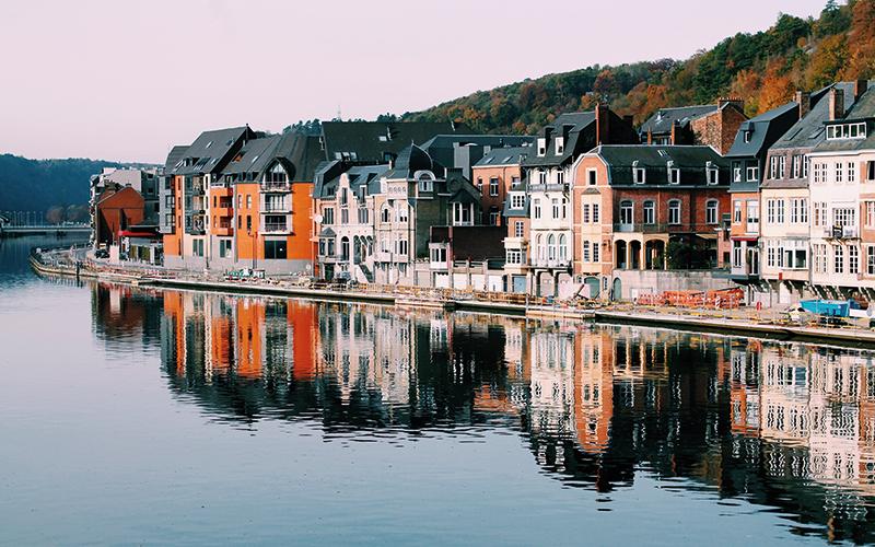 Belgium houses along waterfront