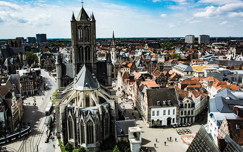 Aerial view of Belgium square