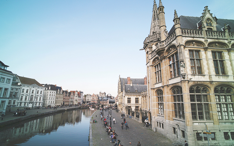 Belgium canal and buildings