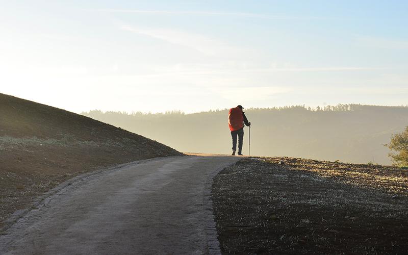 Man hiking on road