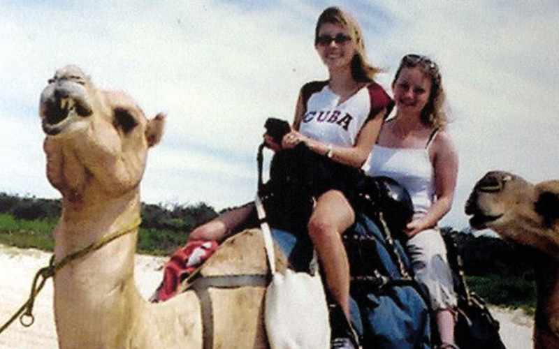 Caroline Stuttle and friend riding camel