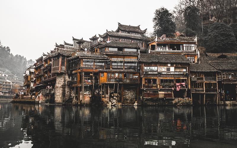Ancient China structure on the water