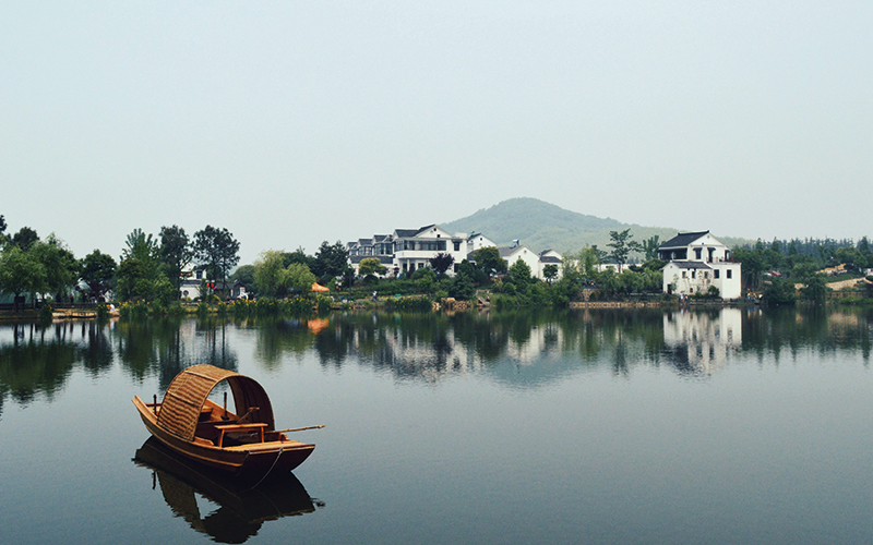 Boat on still waters in China