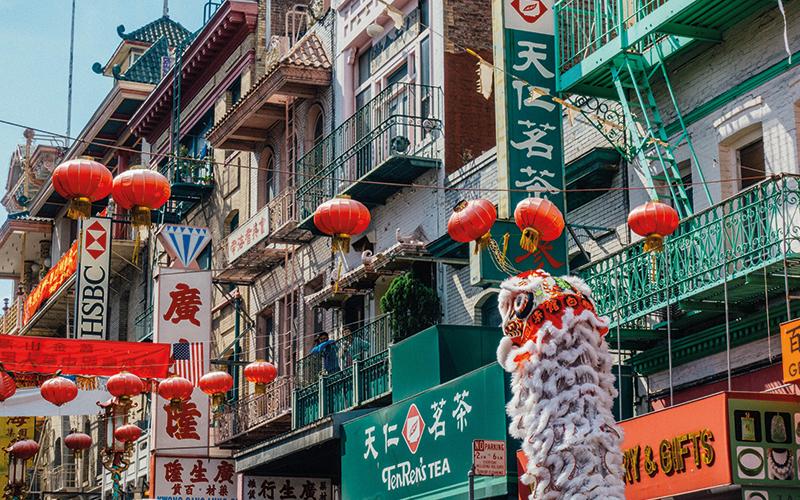 Lanterns in Chinese street