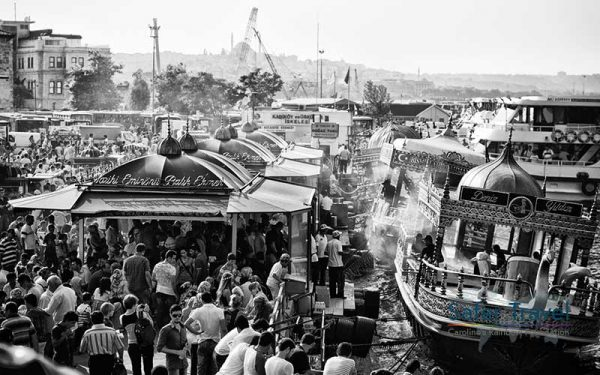 Busy Istanbul scene black and white