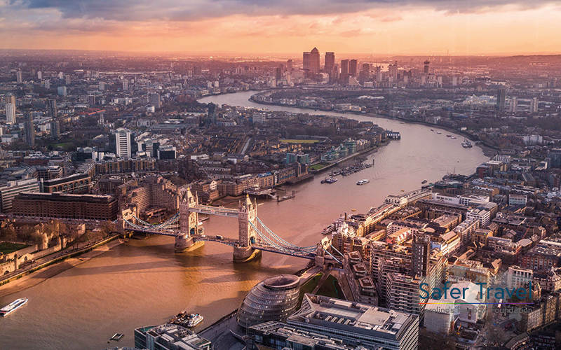 Aerial view over London with Tower Bridge