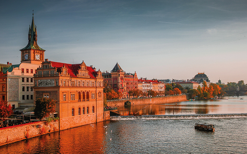Lake with boat on in Prague