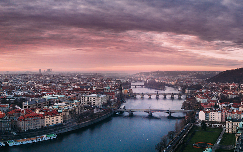 Aerial shot of Prague