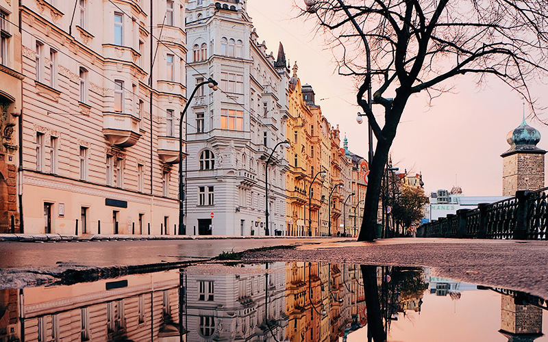 Puddle in street in Prague