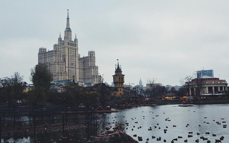 Russia building overlooking lake