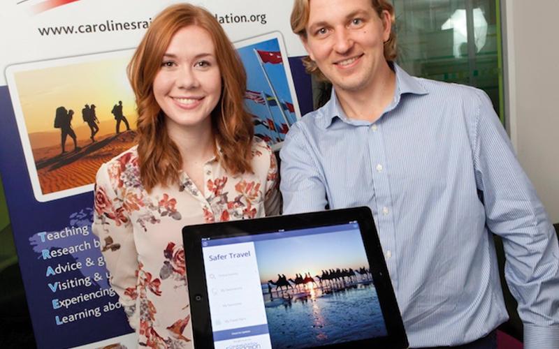 Richard Stuttle showing safer travel app