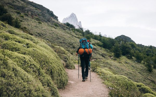 Person hiking in South America