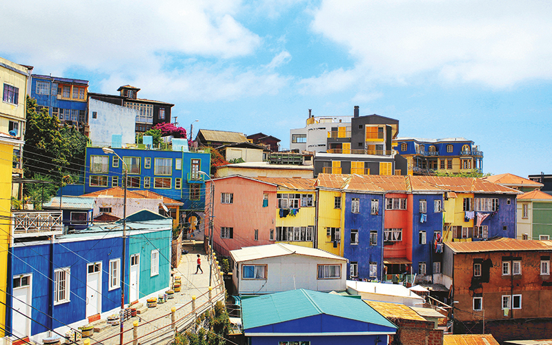 Colourful buildings in South America