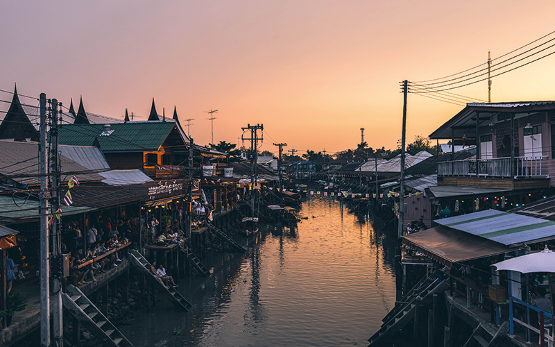 Thailand street next to river