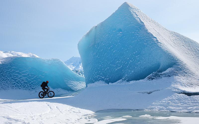 Biking next to an iceberg