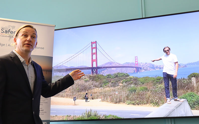 Richard Stuttle taking about Golden Gate Bridge
