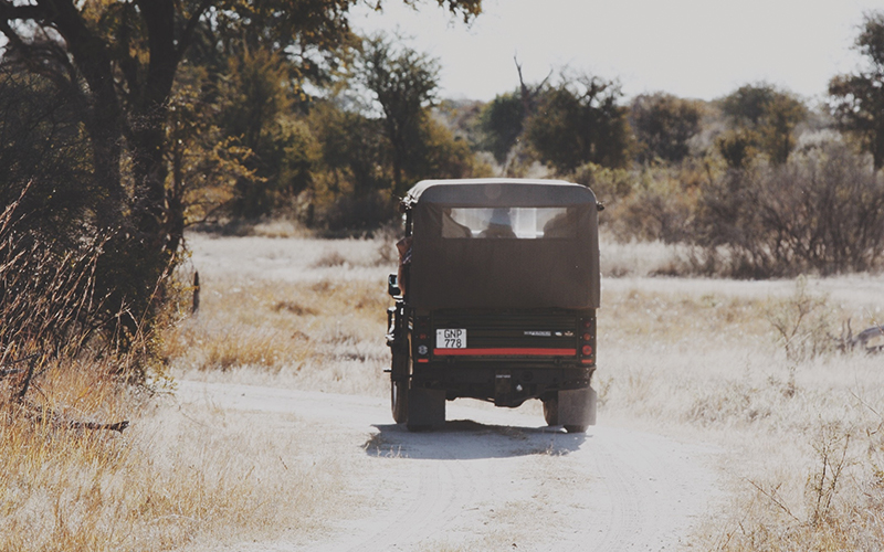 Safari truck driving away