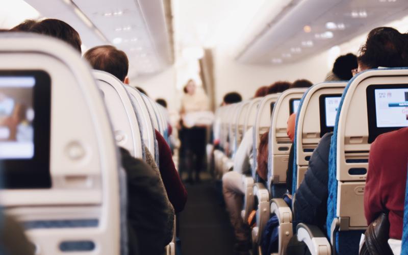 People sat in an aeroplane