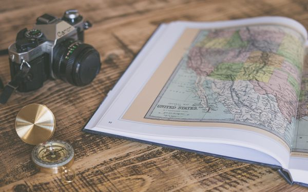 Camera, compass and map