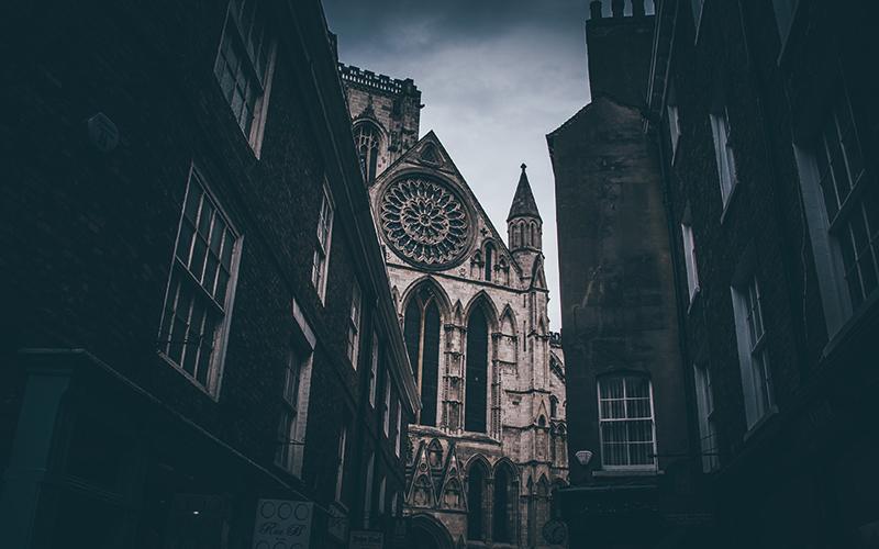York minster through buildings