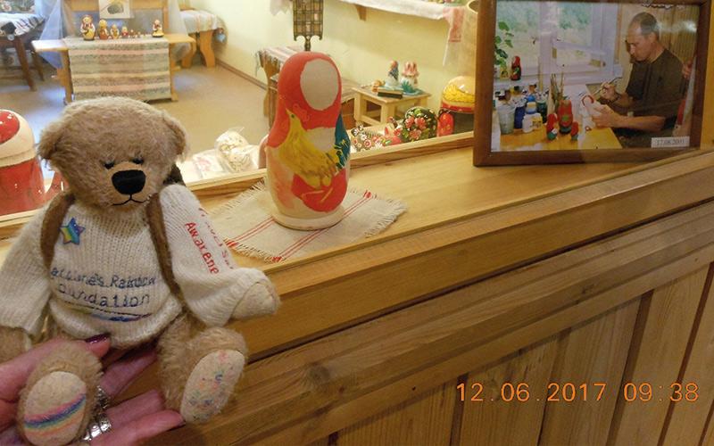 Rainbow Bear doll painting