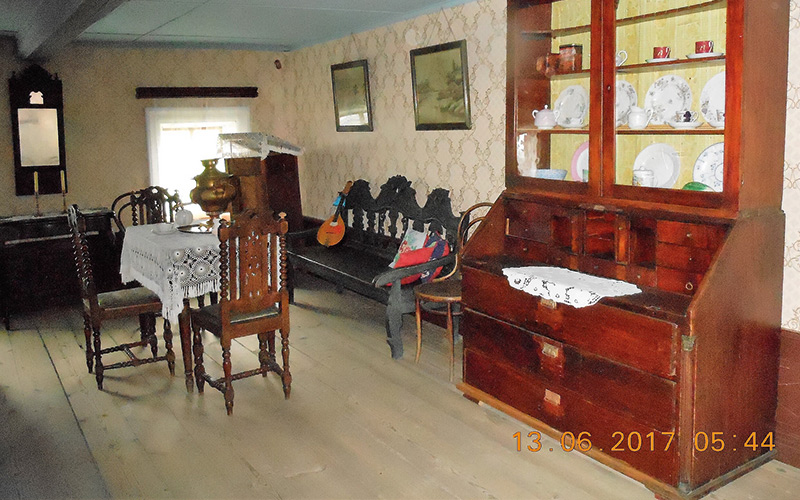 Wooden furniture in building