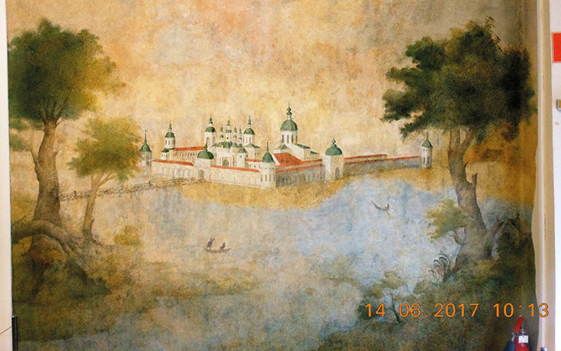 Painting of old buildings