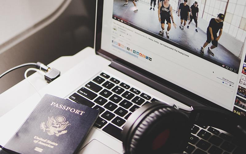 Laptop passport headphones