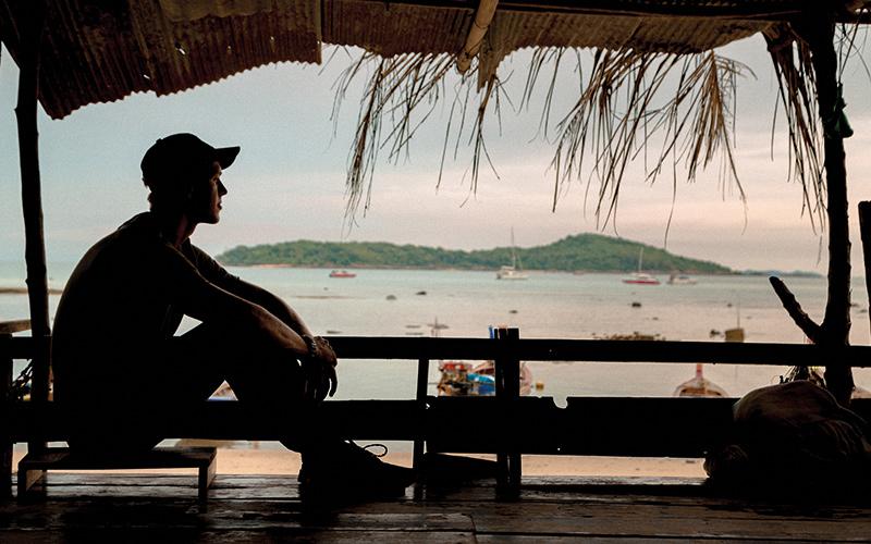 Man sat on beach