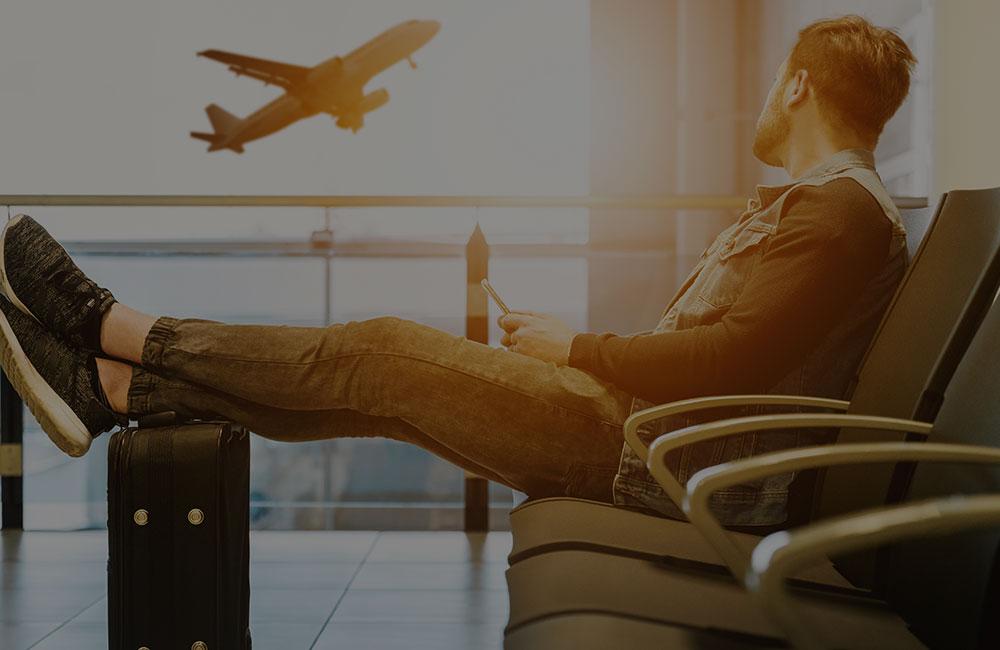 Man sat at airport