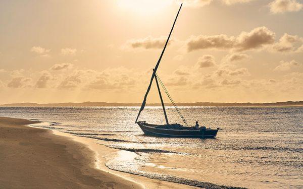 Boat on Lamu beach at sunset