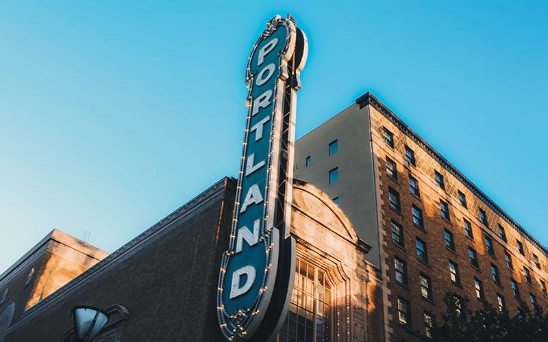 Portland sign on building