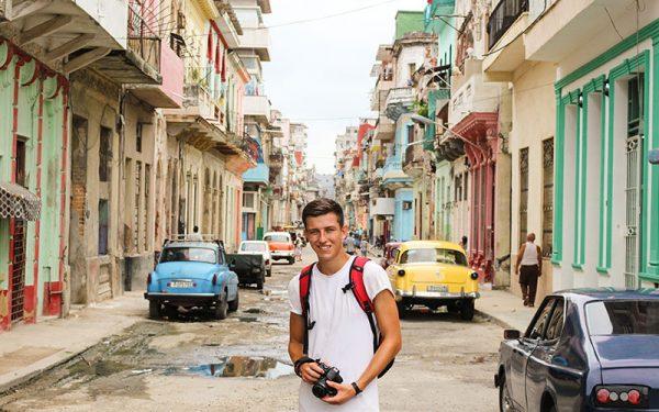 Chris Healey posing in Havana street
