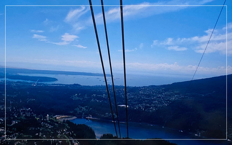 Cable cars overlooking British Columbia