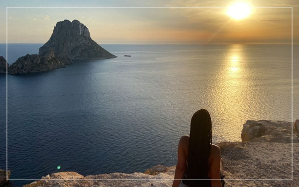 Looking out over the Ibiza sunset