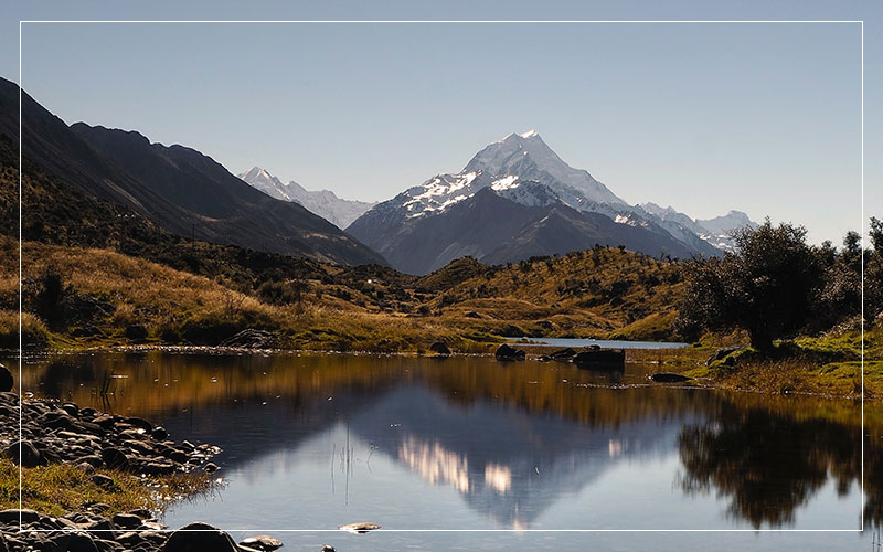 New Zealand lake with mountains