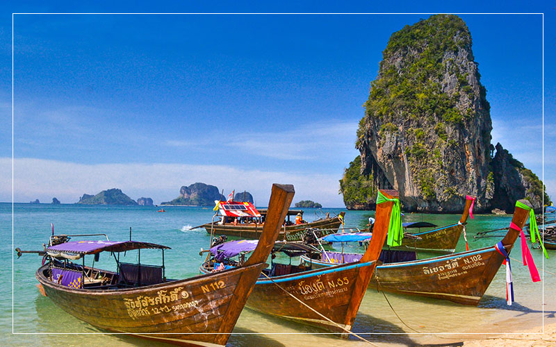 Boats parked ashore in Thailand