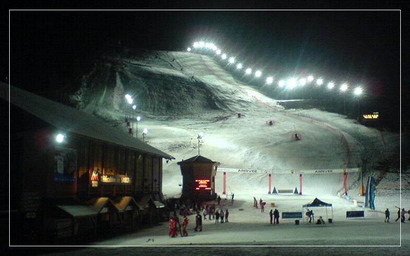 Meribel ski slope at night