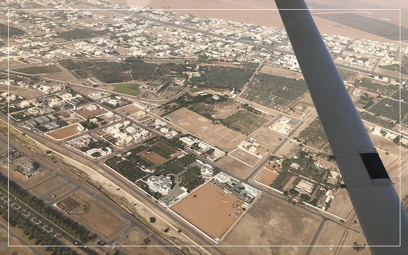 Looking out at Dubai via plane