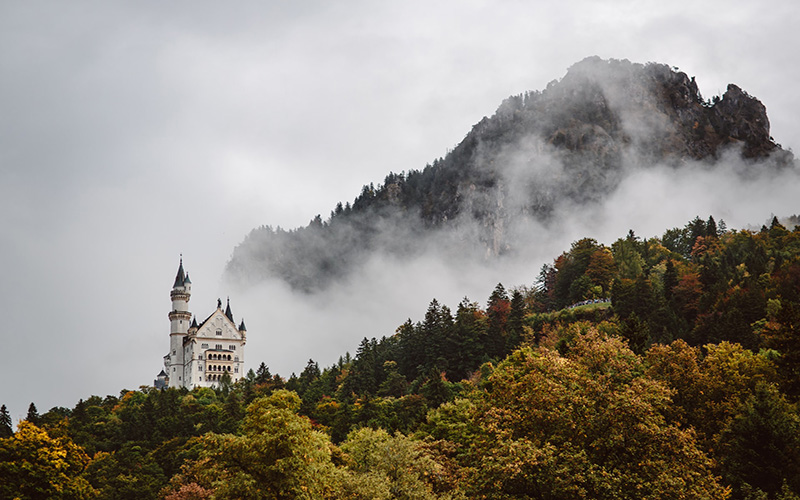 Neuschwanstein Castle in the fog
