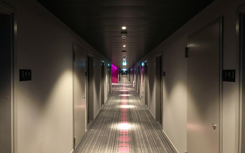 Empty hotel corridor