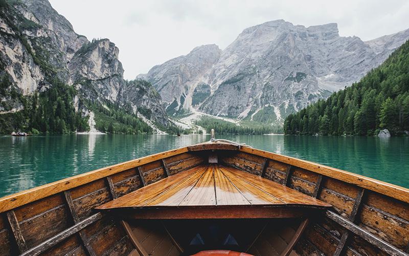 Sailing on a boat on the wonderful Lago de Braies