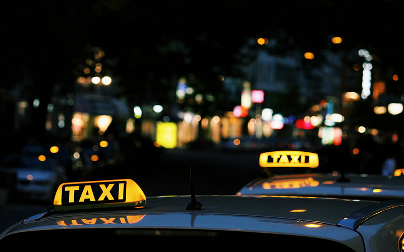 Taxis at night in Budapest