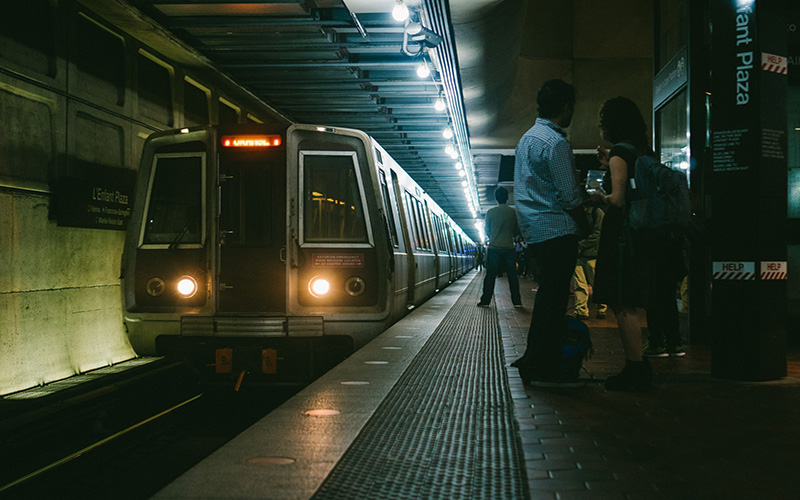 People waiting for train in Washington metro
