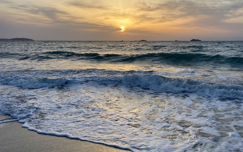 Sunset over Spanish beach