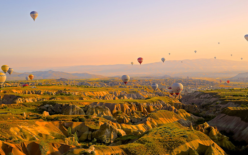 hot air balloons in sunset sky